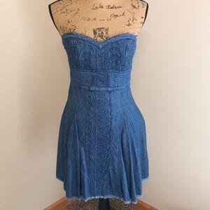 Free people denim strapless dress